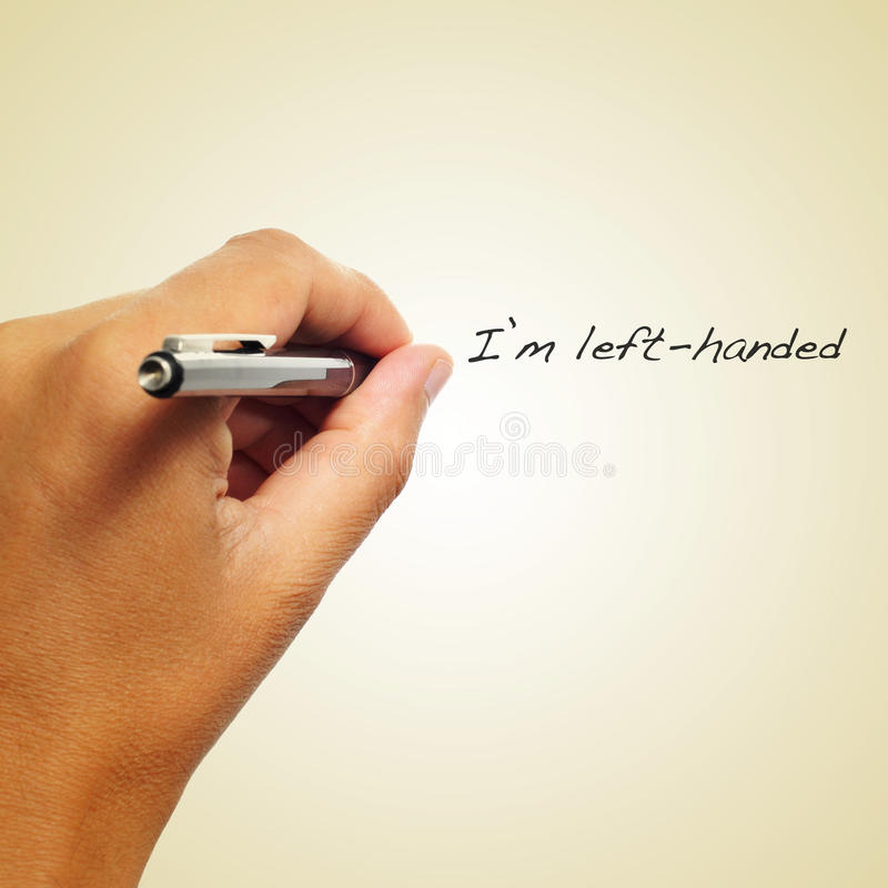 Jag är vänsterhänt arkivbild