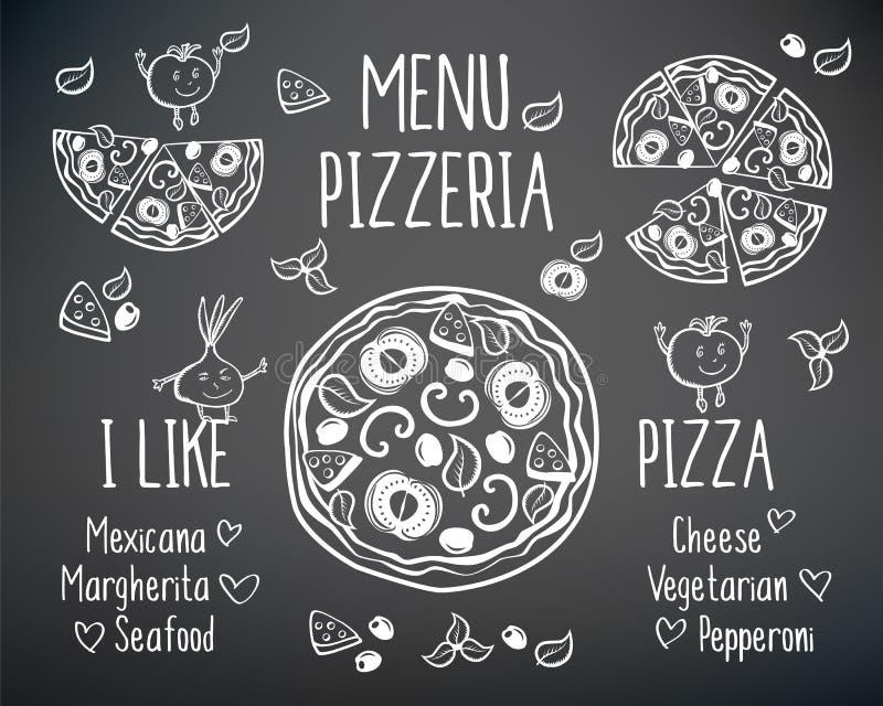 Jag gillar pizza royaltyfri illustrationer