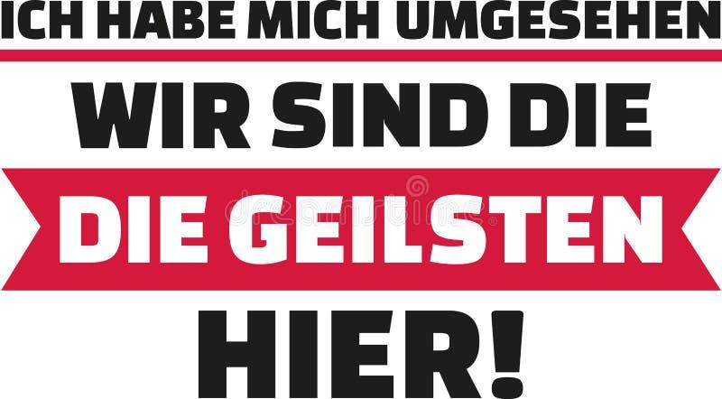Jag hade en blick omkring, oss beträffande ` det mest sexiest på plats Tyskt meddelande royaltyfri illustrationer