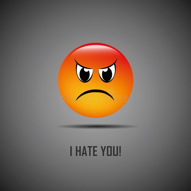 Jag hatar dig den dåliga emojien stock illustrationer