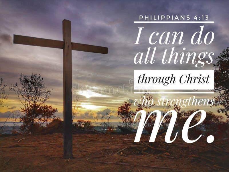 Jag kan göra all saker till och med Kristus som förstärker mig med solnedgångbakgrundsdesignen för kristendomen royaltyfria foton