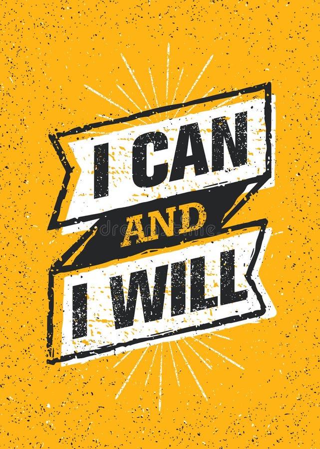 Jag kan, och jag ska göra det Baner för citationstecken för motivation för genomkörare för sportidrottshalltypografi Starkt begre stock illustrationer