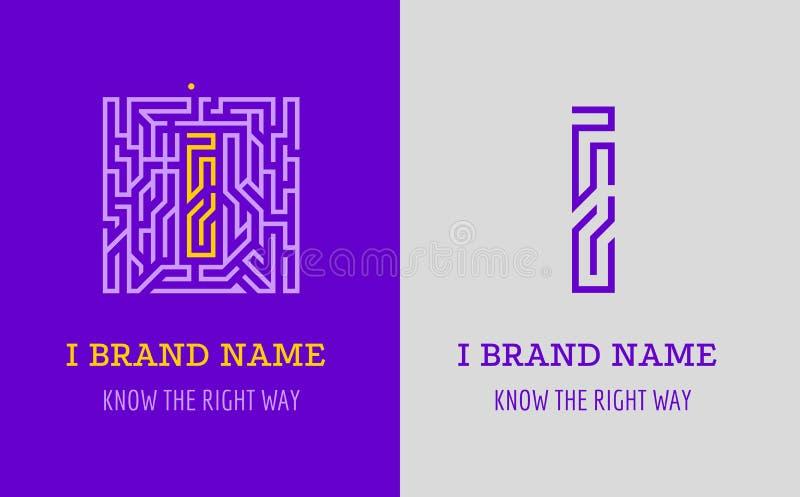Jag märker logolabyrint Idérik logo för företags identitet av företaget: bokstav I Logoen symboliserar labyrinten, val av den hög vektor illustrationer