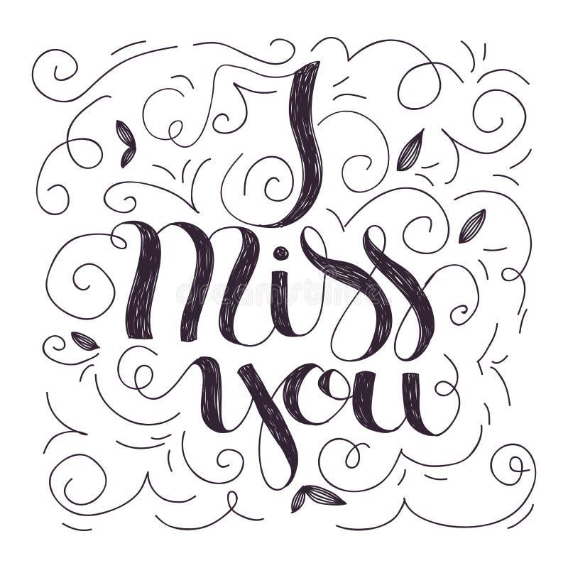 Jag missa dig bokstäver stock illustrationer