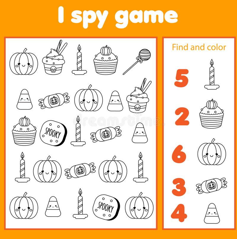 Jag spionerar leken för små barn Fynd- och räkningsobjekt Räkna bildande barnaktivitet stor ljus rollbesättning som kantjusterar  vektor illustrationer