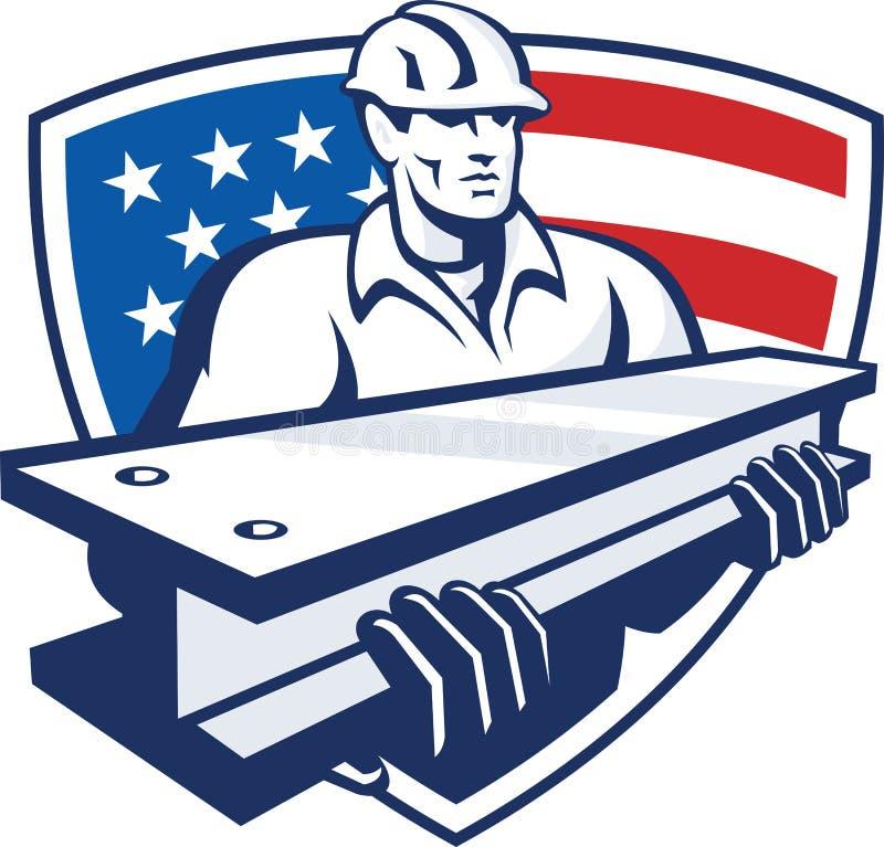 Jag-stråle för konstruktionsstålarbetare amerikanska flaggan royaltyfri illustrationer