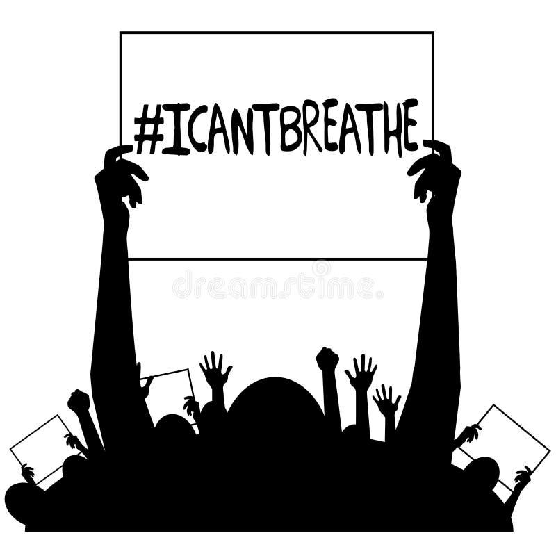 Jag välter andas protestteckenkonturn royaltyfri illustrationer