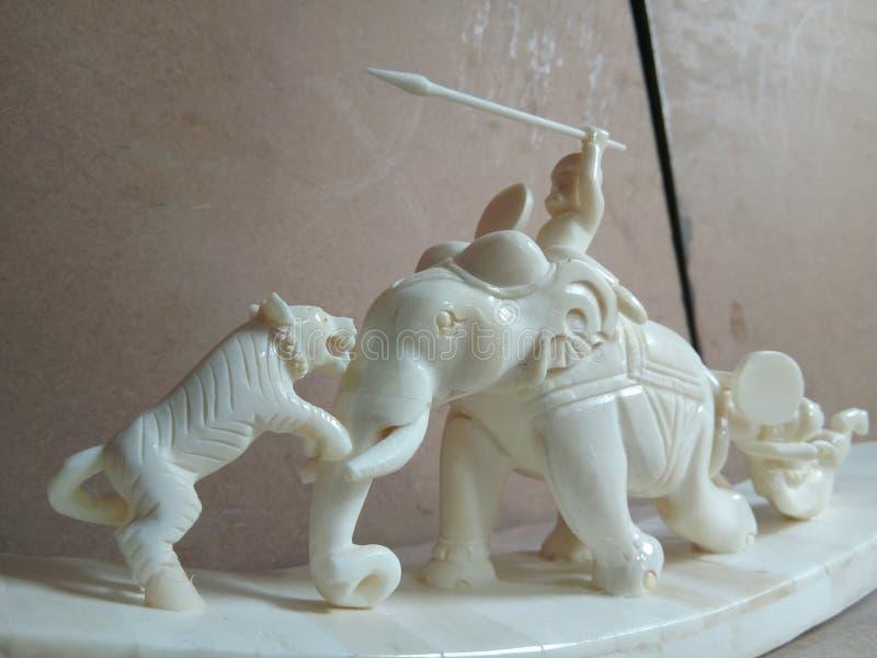 Jaga den benelefanten och tigern royaltyfri fotografi