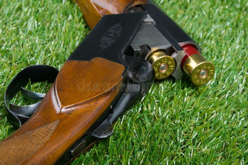 Jaga geväret för sportar, på en grön gräsmatta royaltyfria foton