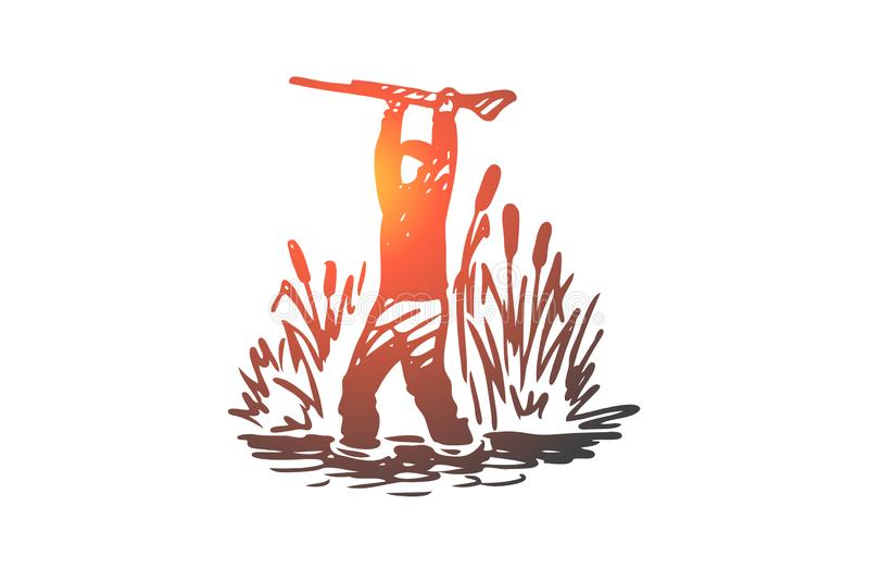 Jaga och att smyga sig, gevär, sport, vapenbegrepp Hand dragen isolerad vektor royaltyfri illustrationer