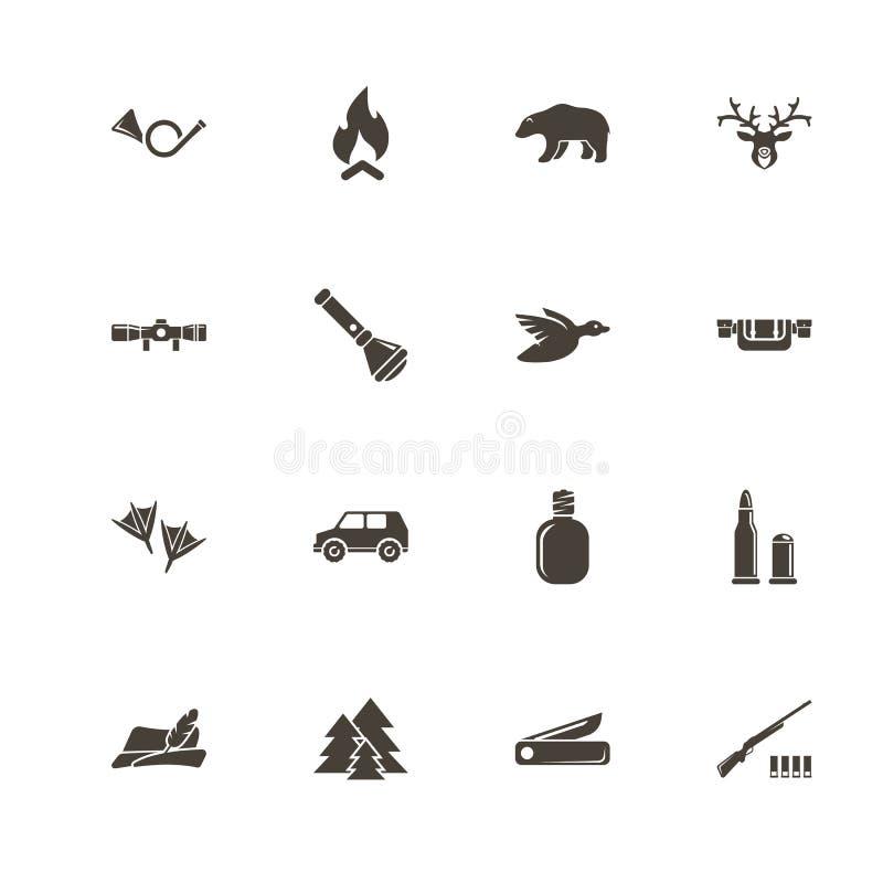Jaga - plana vektorsymboler royaltyfri illustrationer