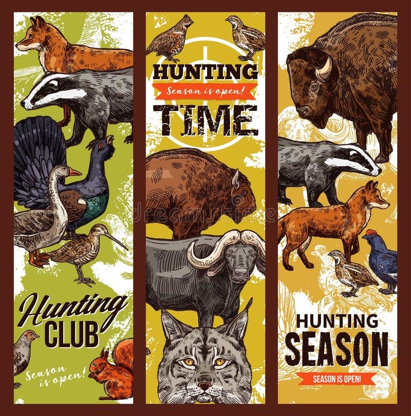 Jaga tid, fåglar och djur royaltyfri illustrationer