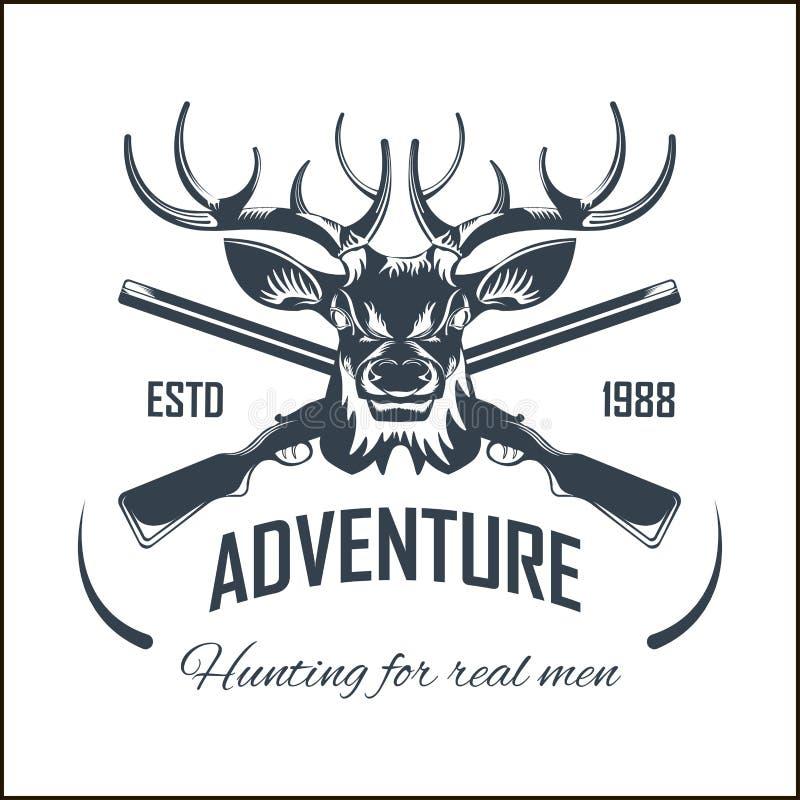 Jaga vapnet för jägaren för affärsföretaget för jakten för älgen för klubbavektorsymbolen plundra den öppna säsongen royaltyfri illustrationer