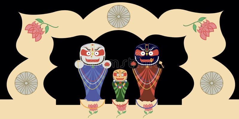 Jagannath, Baladev y Subhadra foto de archivo
