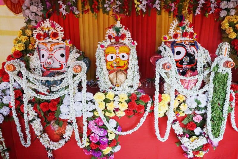 Jagannath, Balaram en Suvadra - Hindoese Goden, India stock foto