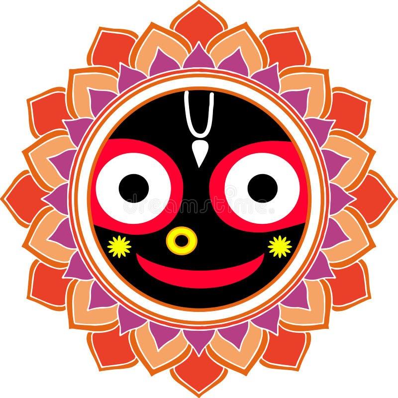 Jagannatha Mandala Big Smile, deus indiano Krishna, lebre Krishna Oriental Ornament ilustração stock