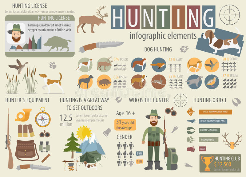 Jagd der infographic Schablone Hundejagd, Ausrüstung, statistica stock abbildung