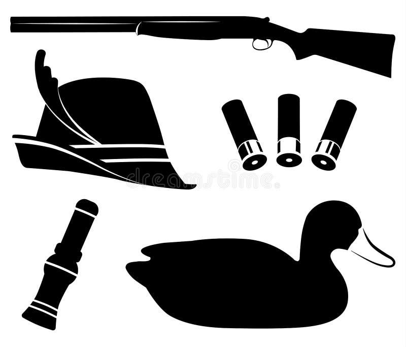 Jagd des gesetzten Vektors Duck Hunting Schrotflinte, Entenanruf, Lockvögel, Hut, Oberteil vektor abbildung