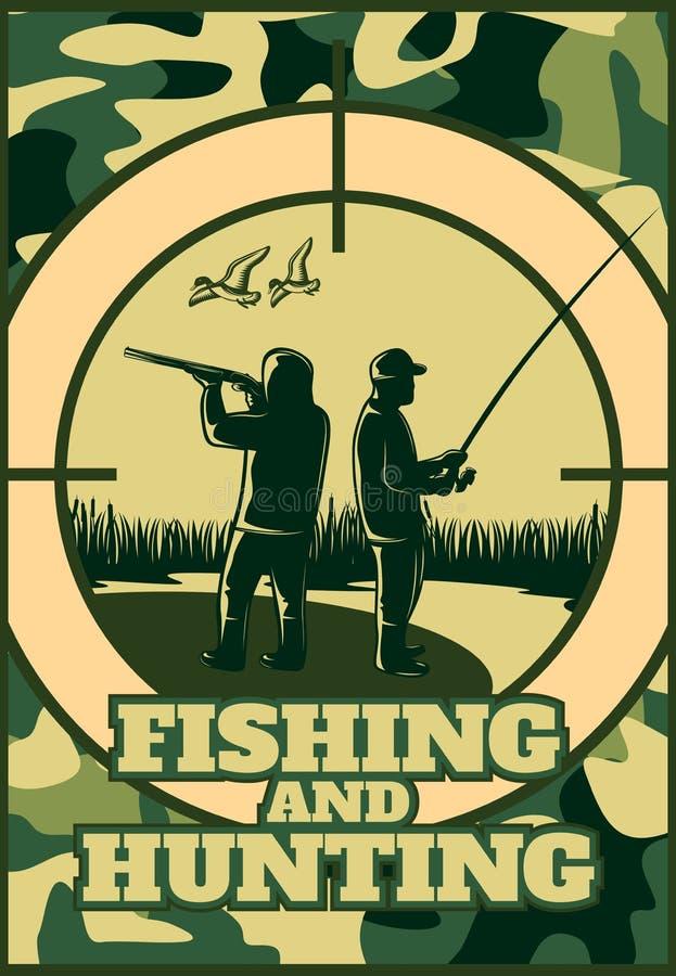 Jagd des kakifarbigen Plakats vektor abbildung