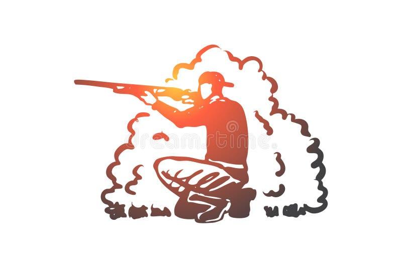 Jagd, Gewehr, Hobby, Extraktion, Gewehrkonzept Hand gezeichneter lokalisierter Vektor stock abbildung