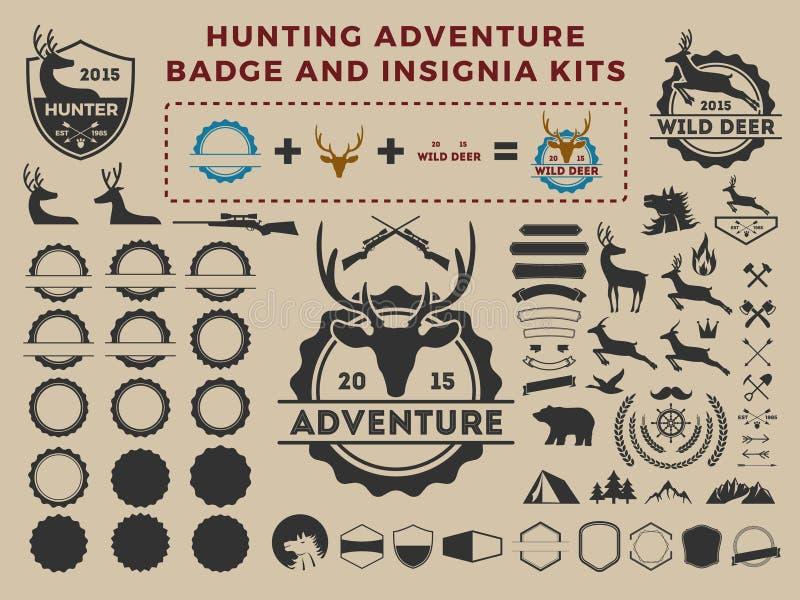 Jagd- und Abenteuerausweislogo-Elementausrüstungen lizenzfreie abbildung