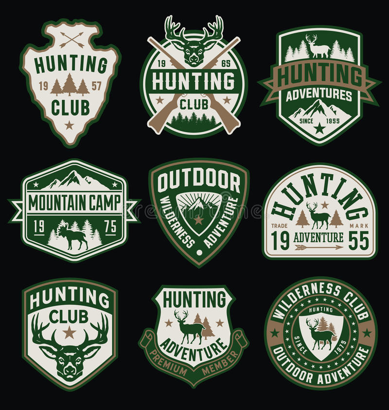 Jagd und themenorientierte Ausweise und Emblemsammlung im Freien lizenzfreie abbildung