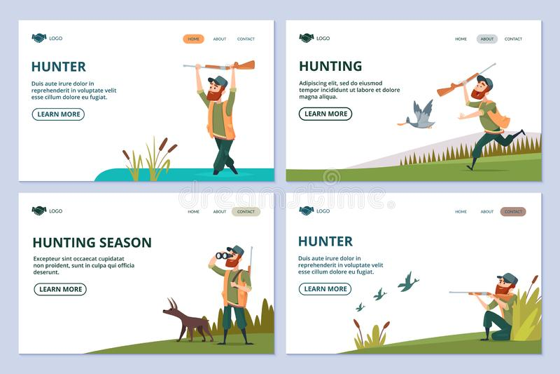 Jagd von Webseiten Jäger mit Gewehr, Hund, Entenvektorfahnen stock abbildung