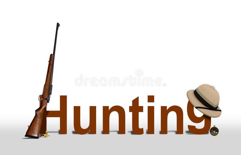 Jagd-Zeichen mit Gewehr und Hut stock abbildung