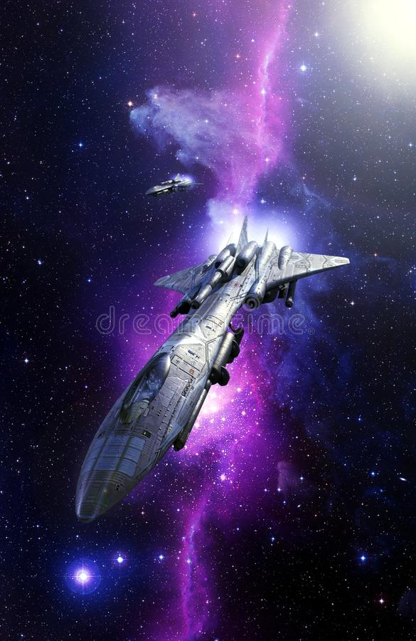 Jagdbomberraumschiff und -nebelfleck starfield stock abbildung