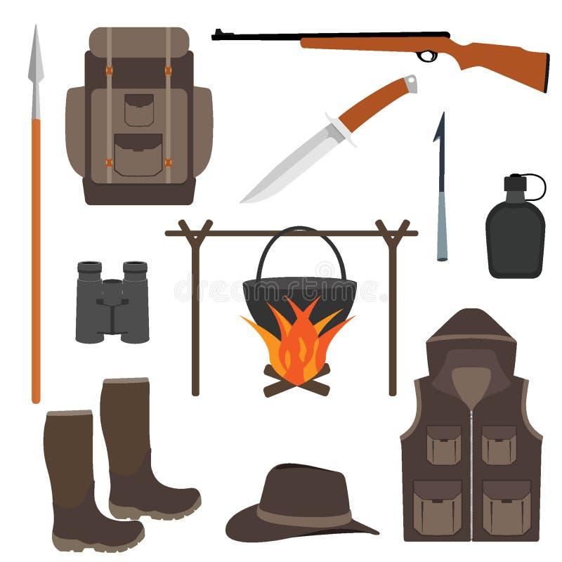 Jagdikonensatz, lokalisiert Jagdausrüstung in der flachen Art, Illustration Jagdrucksack, Stiefel, Messer, Gewehr, Flasche, siche vektor abbildung