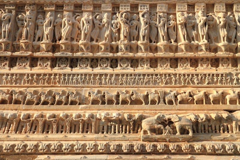 Jagdish Temple Stone Carvings Udaipur, Rajasthan, Indien royaltyfri fotografi