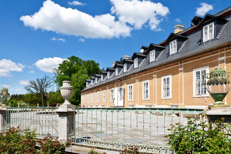 Jagdschloss in der klassischen Art Kozel errichtet im 18. Jahrhundert, Pilsen-Region, West-Böhmen, Tschechische Republik stockbild