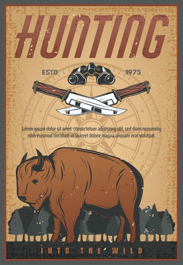 Jagdsport-Weinlesefahne mit Bisontier stock abbildung