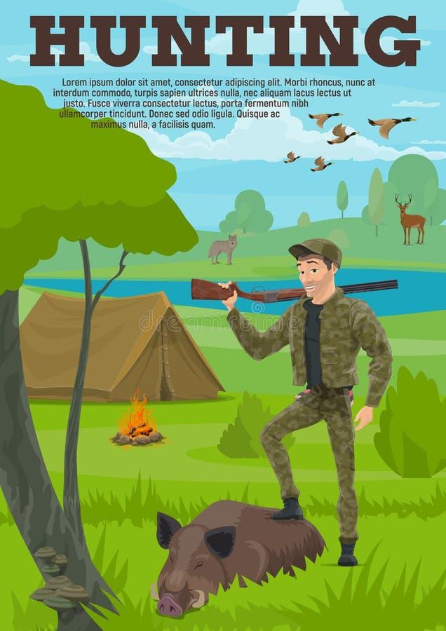 Jagdsportfahne mit Jäger, Tier und Vogel stock abbildung