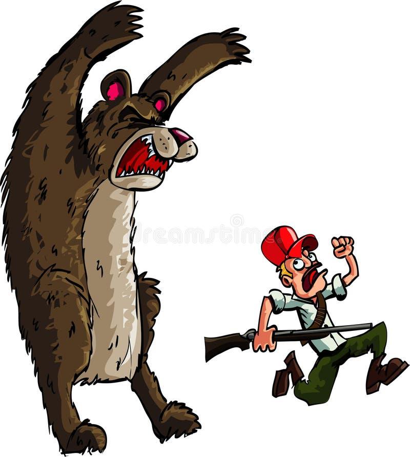 Jager die van een boze beer loopt vector illustratie