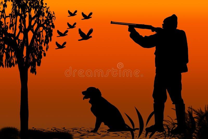 Jager en hondssilhouet vector illustratie