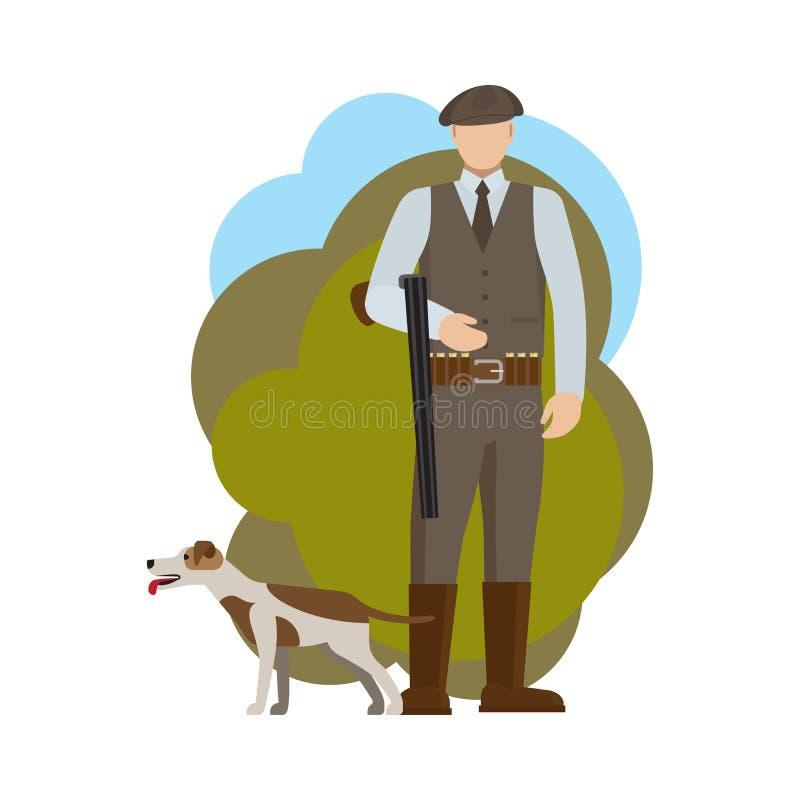 Jager en zijn hond stock illustratie
