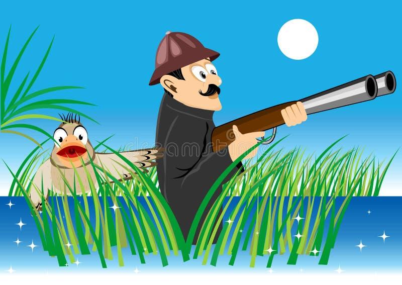 Jager met een kanon en een eend stock illustratie