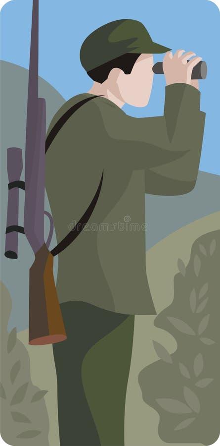 Jager met Kanon en Verrekijkers stock illustratie