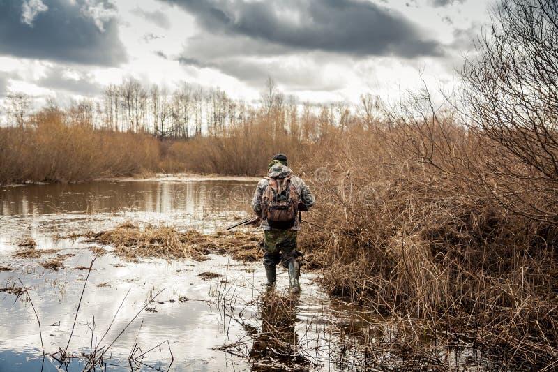 Jagersmens het binnensluipen moeras tijdens de jachtperiode stock foto's