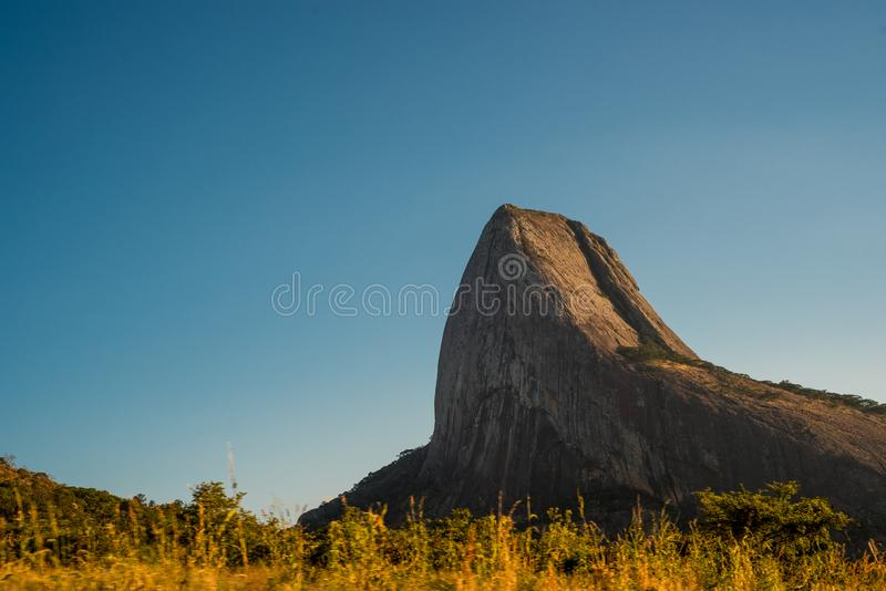The jagged crest of a sheer rock hill royalty free stock images