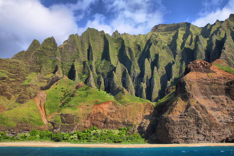 Jagged hills from catamaran at the dramatic Na Pali coast. Of Kauai, Hawaii Islands royalty free stock photos