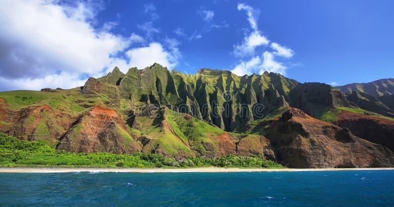 Jagged hills from catamaran at the dramatic Na Pali coast. Of Kauai, Hawaii Islands stock photos