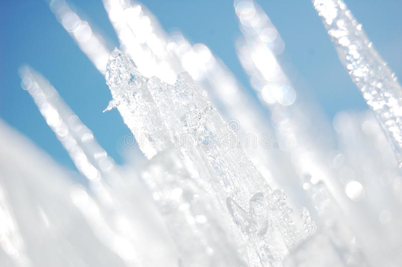 Jagged Ice Crystals. Glowing in the sunlight stock images