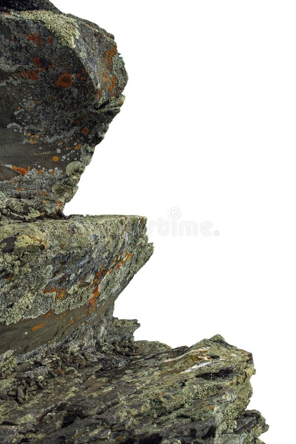 Jagged mountain rocky stones on white background stock images