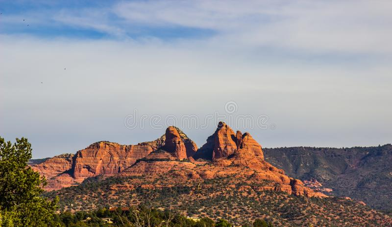 Jagged Red Rock Peaks In Arizona Mountains stock images