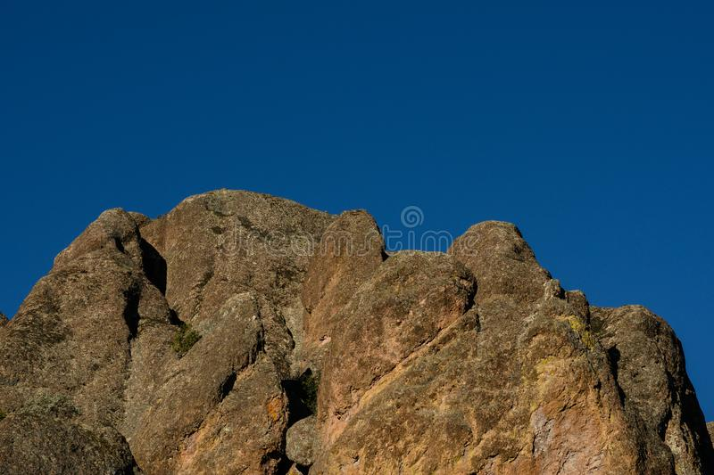 Jagged Rocks and Blue Sky. In Pinnacles National Park royalty free stock photos