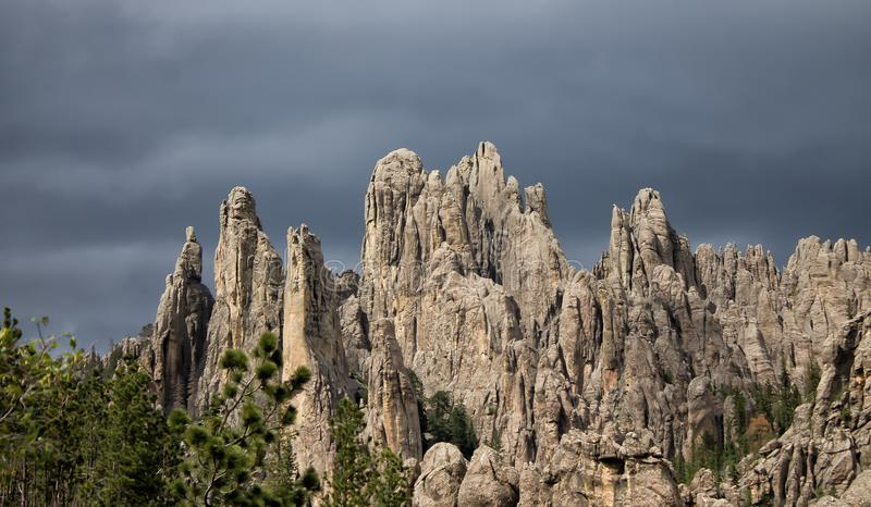Jagged rocky peaks in the black hills. Jagged mountain peaks on a stormy day in the black hills of South Dakota royalty free stock photography
