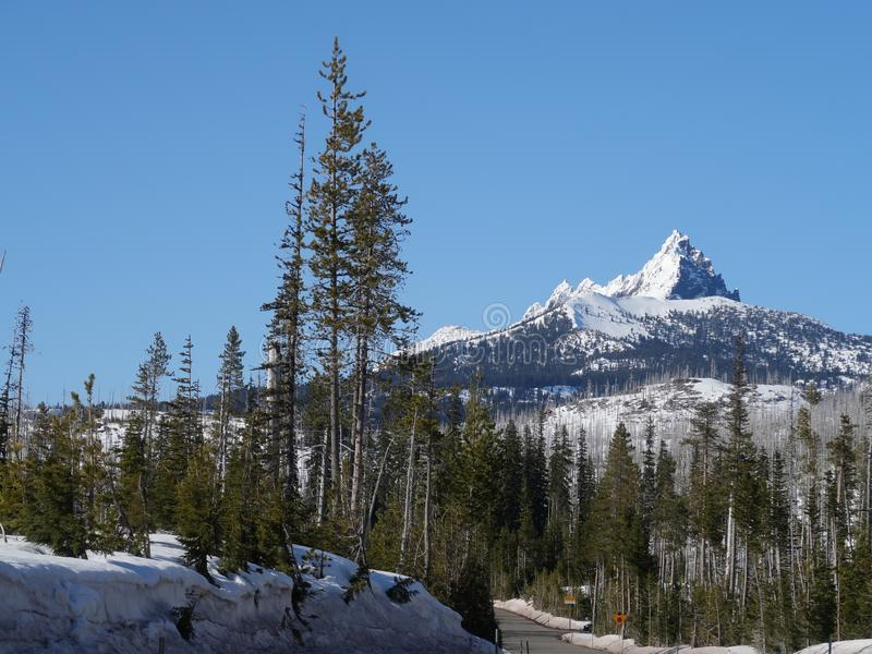 Snow on jagged Mt. Washington. The jagged snow covered peak of Mt. Washington in Oregon's forests and Cascade Mountain Range against a clear blue sky on a royalty free stock image