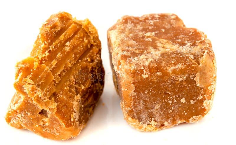 Jaggery trzciny cukier odizolowywający na bielu zdjęcie stock